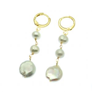 Drop & Dangle Gold Pearl Earrings with Coin Pearls on Huggie Hoops